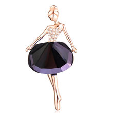 Fashion Wedding Jewelry Rhinestone Crystal Brooch Gold Silver Ballet Girl Brooch Scraf Broches luxurious Brooches PIn For Women