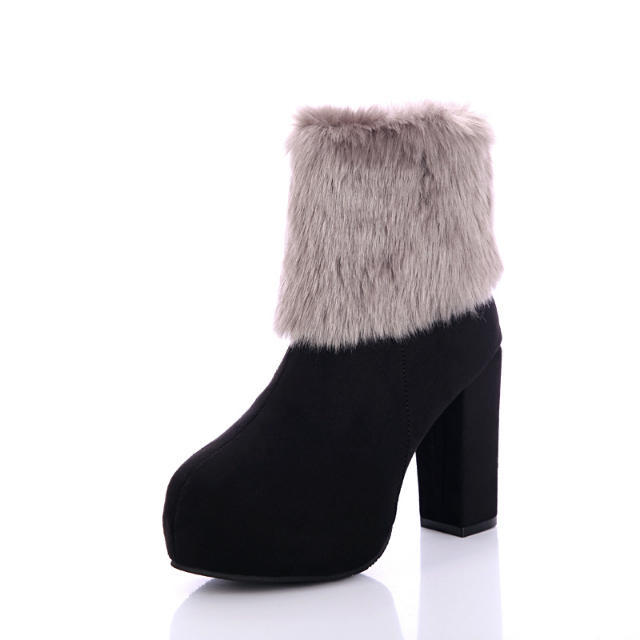 Women Ankle Boots 2016 New Winter Fashion Square Heel High Botas Mujer Fur Lined Nubuck Leather Cheap Shoes Ladies Bottine Sales<br><br>Aliexpress
