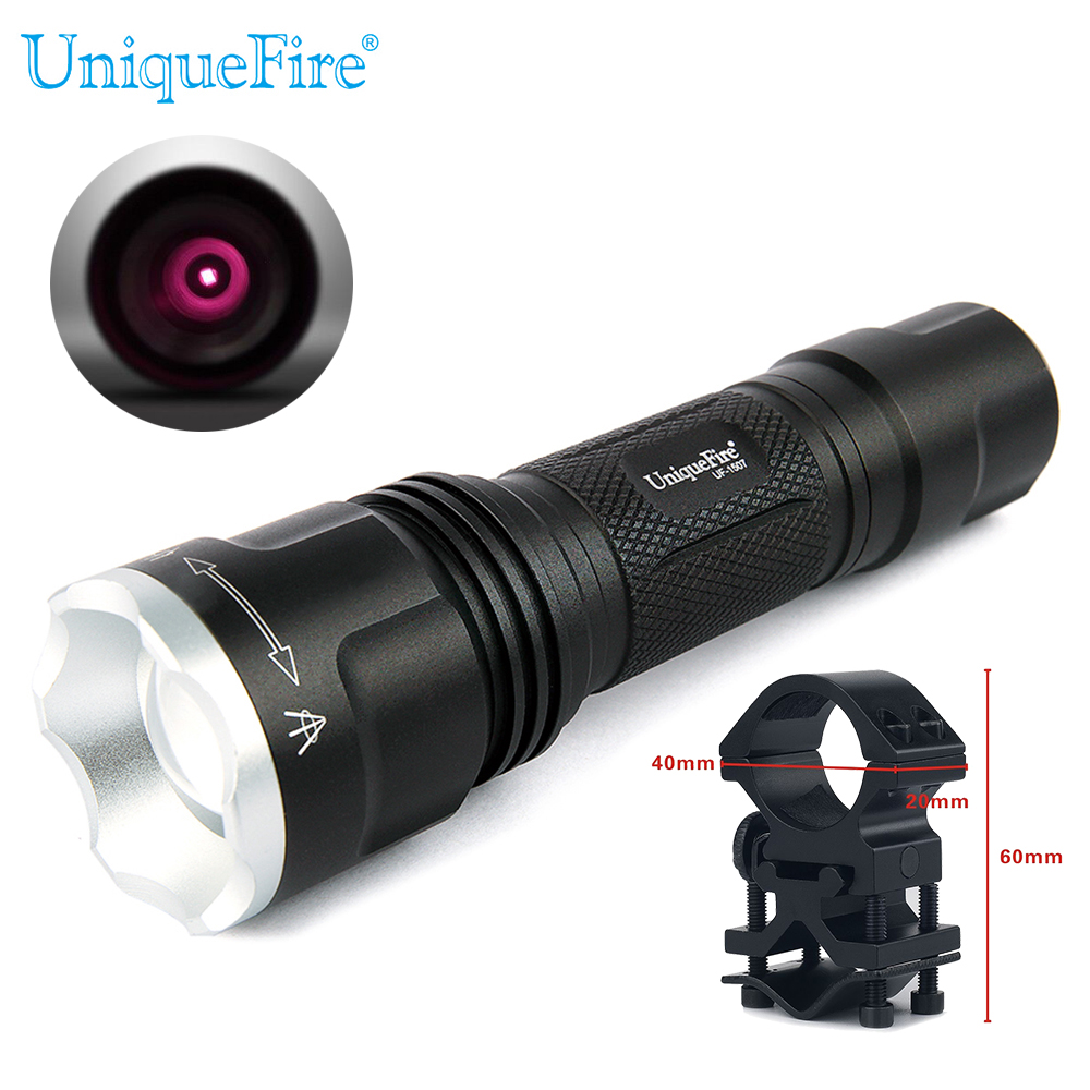 UniqueFire 1507-850nm 3W Zoomable LED Flashlight Torch Infrared Night Vision Fill Light Lamp+Gun Mount<br><br>Aliexpress
