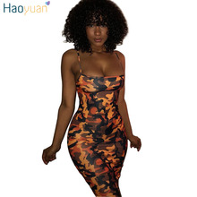Buy HAOYUAN Camouflage Plus Size Sexy Dress 2018 Summer Shoulder Mini Party Beach Dress Backless Club Bodycon Dresses Women for $9.59 in AliExpress store