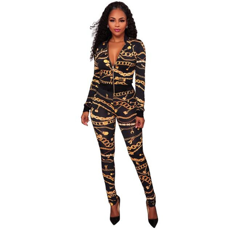 2019 Spring Women Tops + Pants 2 Piece Suit Gold Chain Print Tracksuit Female Sportive Outfit Set Crop Top Zipper Sweatsuit