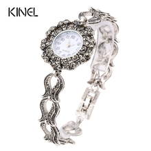 2016 New Vintage Jewelry Luxury Gray Crystal Bracelets Silver Plated Decorative Watch For Women Retro Look Love Gift(China)
