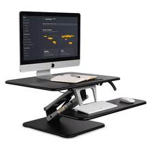 Height Adjustable Sit to Stand Laptop+Monitor Holder Folding Highten TV Mount Gas Spring Lift Workbench Desktop Table 80*52cm(China)