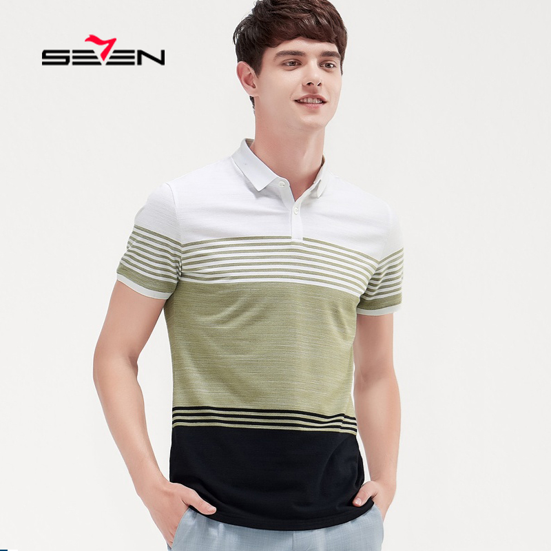 Seven7  Plus Size S-4XL Brands New Men Polo Shirt Mens short Sleeve Striped Pole Shirts Casual cotton High Quality 116T50230