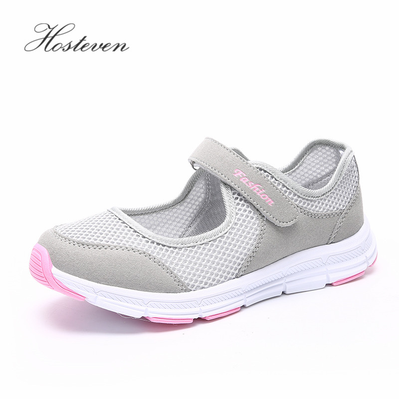 Hosteven Women Shoes Casual Sport Flats Fashion Shoes Walking Spring Summer Loafers Breathable Air Mesh Walking Shoes(China)