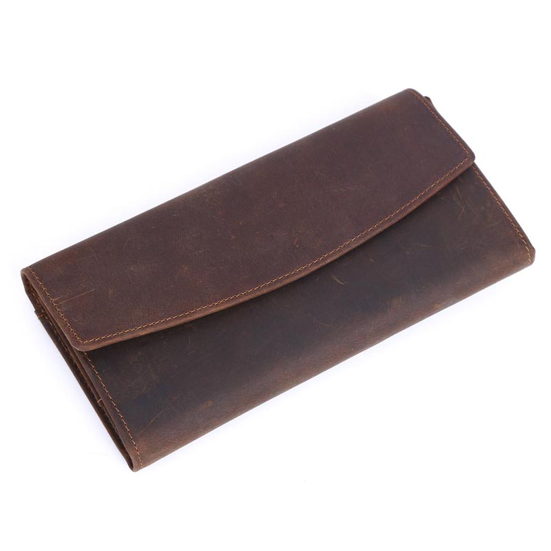 TIDING Mens long brown leather purse with credit card holder retro style wallet 40287<br><br>Aliexpress