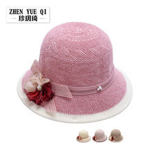 Summer Beach Sun Hat For Women Natural Straw Hats Ladies Elegant Red Pink Bow-knot Lady Tourism hat summer Sombrero Mujer(China)