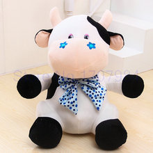 23/35cm drop shipping cartoon sitting Cattle plush toys big size animals toys kids toys milk cow cloth doll(China)