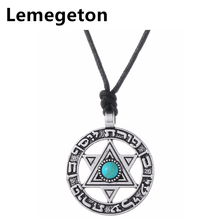 Lemegeton Adjustable Circle with Star of David Necklace Jewelry Viking Trendy Pendant  Necklaces Hebrew Jewish Religious Pendant