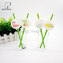 Party supplies 12pcs Dinosaur theme straws party decoration biodegradable paper straw tube eco friendly(China)