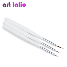 Free Shipping 3 PCS Acrylic French Nail Art Liner Brushes Drawing Dotting Nail Brush Manicure Pen Styling Tools(China)