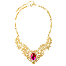 Hollowed Out Statement Collar Necklace Gold Color Crystal Inlay Red Green Imitation Gemstone Necklace Chokers
