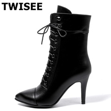 TWISEE Women Pumps High Heel Peep Toe Ankle Boots Spring/Autumn Fuzzy Ball Pompon Gladiator women shoes(China)