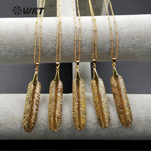 WT-N969 Wholesale Custom Gold Dipped Natural Bone Feather Pendant Necklace With 18 Inch Gold Chain For Fashion Jewelry Making