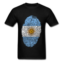 Hot Sales Funny Argentina Flag Fingerprint Men T shirt Short Sleeve Organic Cotton 3XL Men's tshirt Thumbprint design Tee shirt(China)