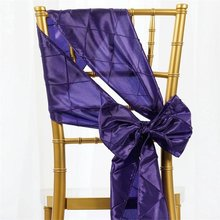 100Pcs Purple Pintuck Chair Sashes Bow For Wedding/Party Banquet Chairs Decoration Bridal Party Sashes Free Shipping(China)