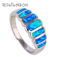 Wedding Party rings Wholesale & Retail Blue fire Opal Silver stamped fashion jewelry Party Rings OR758