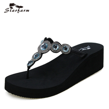 2017 STARFARM Women Shoes Woman Wedge Summer Flip Flops Funny Sandals Feme Slippers Lady Crystal Slipper Chic Slides(China)
