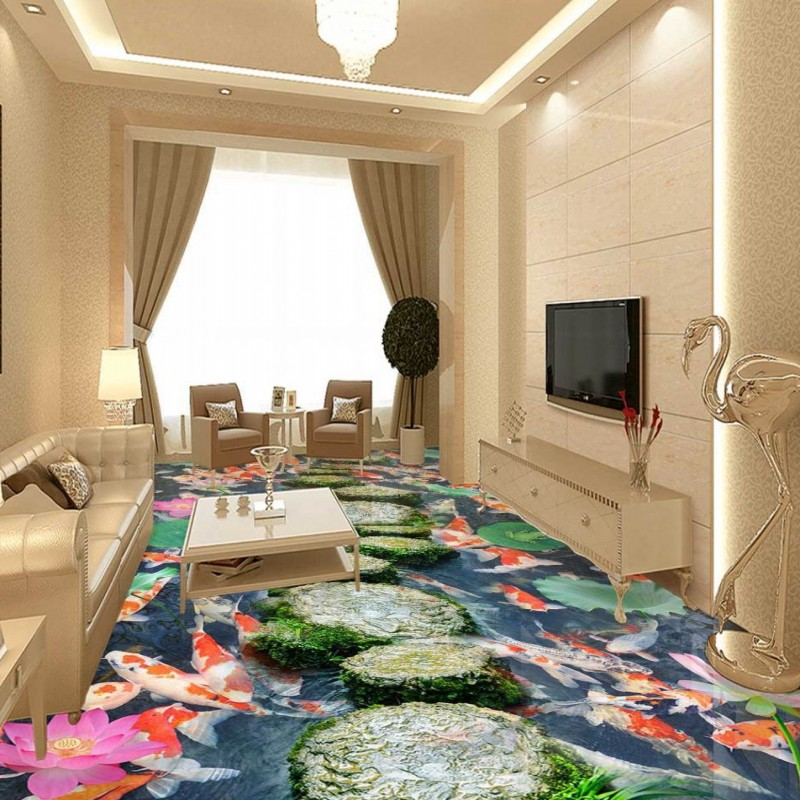Free Shipping Lotus Carp Walkway 3D Floor thickened high-quality waterproof wallpaper stereo non-slip living room mural<br><br>Aliexpress