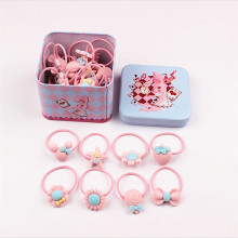 40Pcs/lot Fashion Headband Flower Bow Cartoon Children Pink Hair Accessories Elastic Bands Baby Girl Gift Hairband with Tin Box