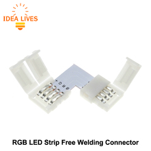 RGB LED Strip Connector 4pin 10mm L Shape / T Shape / X Shape Free Welding Connector 5pcs/lot.