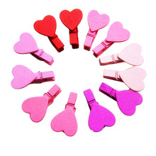 24PCS Love Heart Bear Cloud Wooden Clothes Photo Paper Peg Pin Clothespin Craft Clips 35mm D3