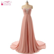 Peach Long Pink Prom Dress A Line Cheap Discount Evening Gowns Crystal Formal Dress Cheap(China)