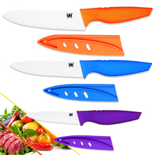 Hot sales ceramic knives purple utility blue slicing orange chef kitchen knives three-piece set ABS+TPR handle cooking knives