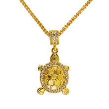 2016 Lovely Crystal Tortoise Necklaces  Golden Iced Out Bling Rock Chains Women men Charm hip hop Jewelry Gifts Pendants