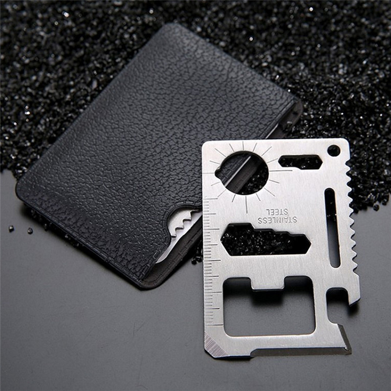 Multi Tools 11 in 1 Multifunction Outdoor Hunting Survival Camping Pocket Military Credit Card Knife Silver(China)