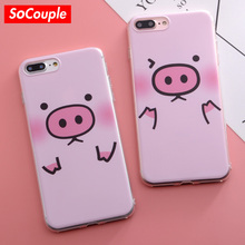 SoCouple Cartoon Pig Design TPU Phone Case For iPhone 5 5s SE 6 6S 7 7Plus 8 8plus X Soft Silicone Phone Bags & Case(China)