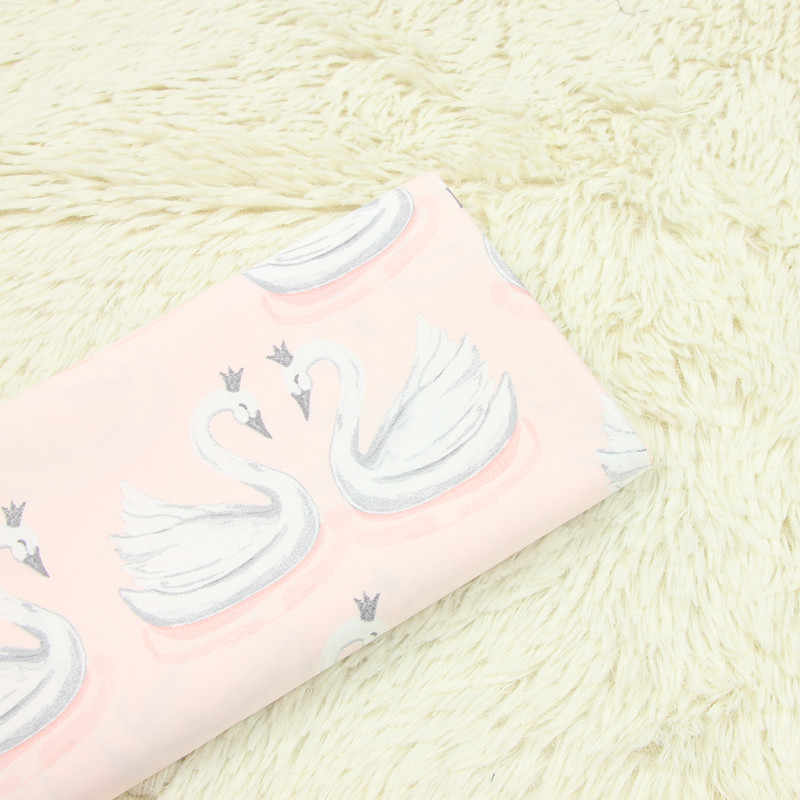 half meter thin brocade swan print fabric handmade DIY garment dress children cloth 100% cotton soft T475