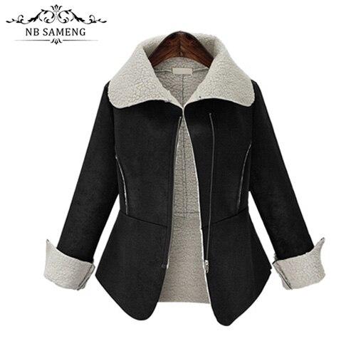 2017 New Fashion Black Women Long Coat Cotton-Padded Clothes Thicken Winter Female Parkas Suede Lamb Wool Jacket Plus SizeÎäåæäà è àêñåññóàðû<br><br>