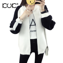 Kuk 2 Color Cardigan Feminino Knitted Sweater Women Winter Coat Oversized Outerwear Sueter Mujer Black White Ladies Jumper A079(China)