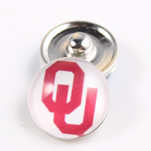 10PCS Oklahoma Sooners 18mm Glass Cabochons Snap Button Fit Ginger Snap Bracelet Bangles NCAA Football Baseball Series Jewelry