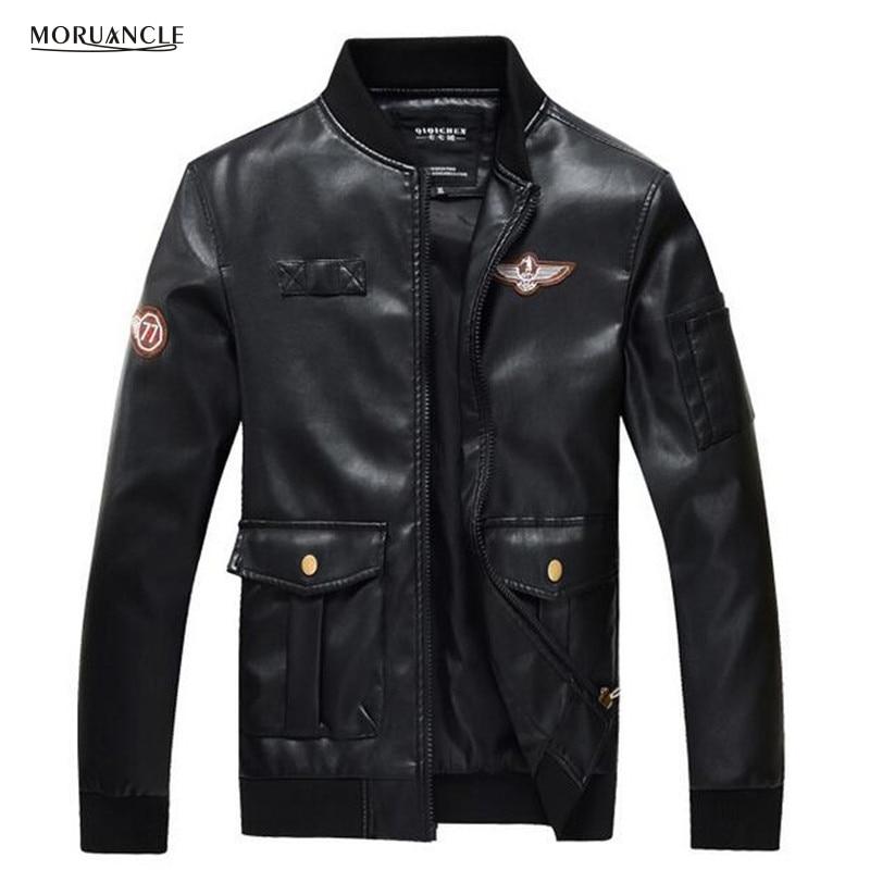 Buy Cheap MORUANCLE Men s Leather Bomber Jackets Slim Fit Black Flight Suede  Windbreaker Varsity Jacket Male Big Pockets Plus Size M 4XL Price 3fc09567b2