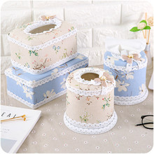 Creative Cotton Fabric Fashion Lace Tissue Boxes Cute Home& Tissue Case Box Container Towel Napkin Papers Bag(China)