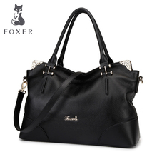 FOXER Brand Women's Genuine Leather Shoulder Bag Soft Handbag and Tote Casual Female Purse With Rose Metal(China)
