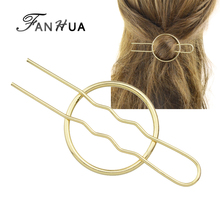FANHUA New Hair Jewelry Minimalist Style Gold-Color Silver Color Round Hair Sticks Hairwear For Fashion Women