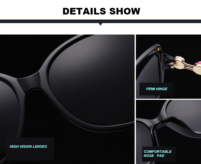 2017 Fashion Square Sunglasses Women Black Frame Flower Decoration Sun Glasses Lady Outdoor Traveling Eyewear Gradient Grey lens