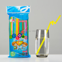 Free Shipping 100pcs/set Straws Drinkware Fruit Juice Water Decorations Colorful Drink Straws Wedding Birthday Party Supplies
