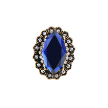 Classic Blue Geometric Imitation Gemstone Finger Rings 2017 Antique Gold Color Ring Women Fashion Jewelry