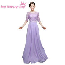 lilac bridesmaids dress gown long red bridesmaid women party dresses 2018 new fashion summer bride maids with sleeves H3920(China)