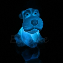 Christmas Changing 7 Color Dog Night Light Colorful LED Energy Novelty Lamp Cute #G205M# Best Quality(China)