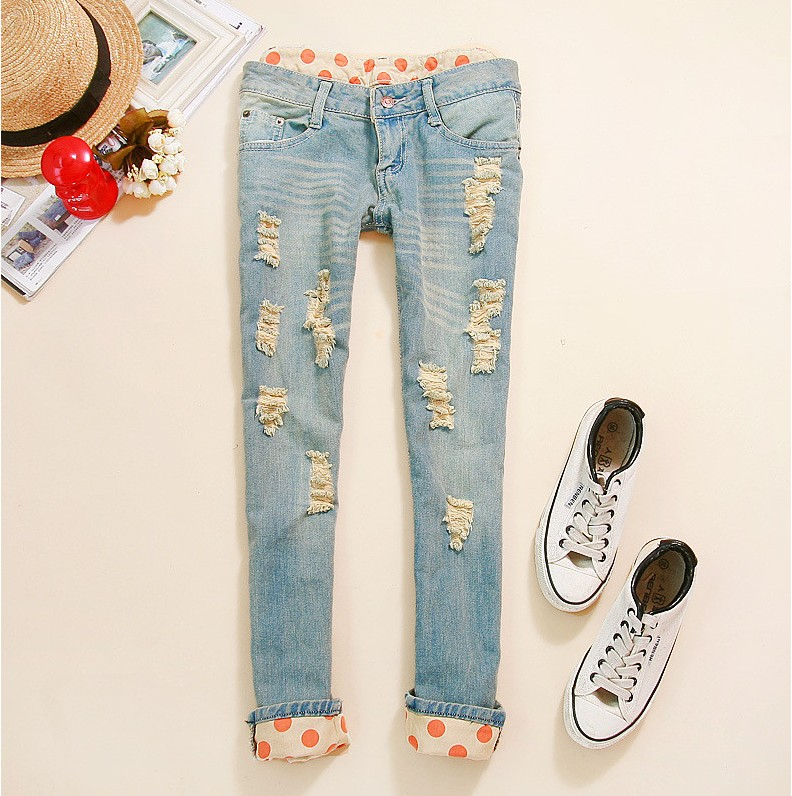Woman Side Bow Cutout Ripped Denim Sexy Jeans Jeggings TrousersОдежда и ак�е��уары<br><br><br>Aliexpress