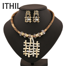 Wedding jewelry sets statement necklace earrings parure bijoux femme jewellery set for women indian Gold-color crystal bridal C(China)