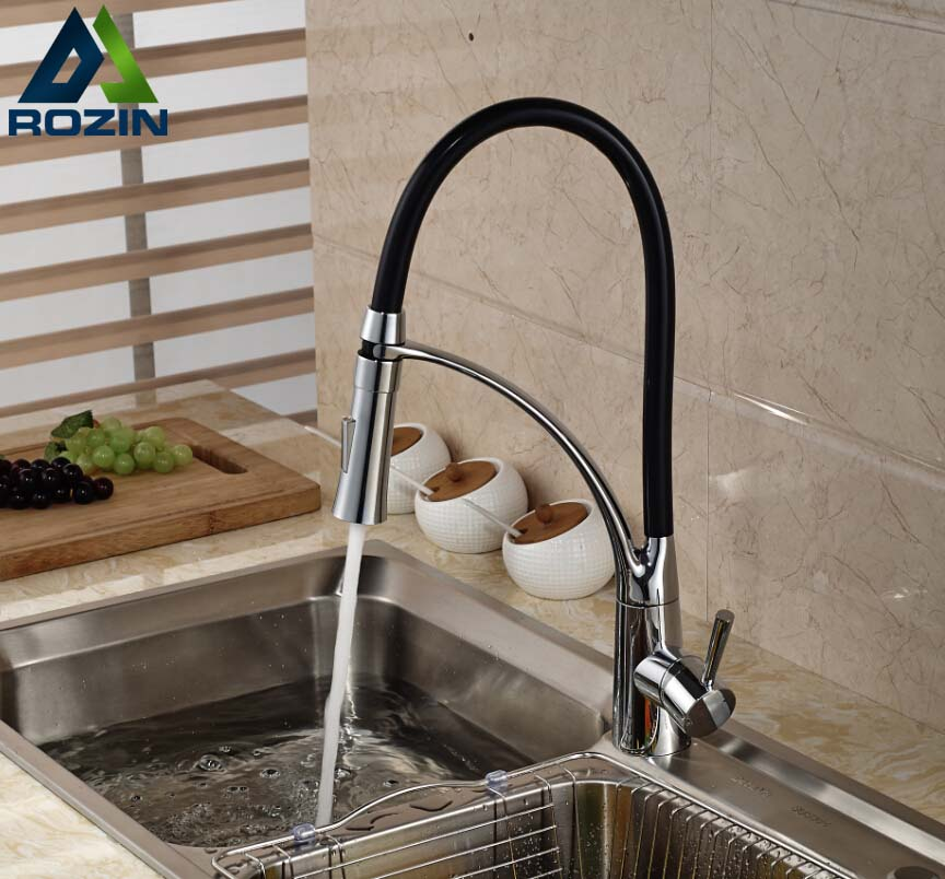 Deck Mount Black Hose Kitchen Mixer Taps Single Handle Stream Sprayer Kitchen Faucet Chrome Finish with Bracket(China)