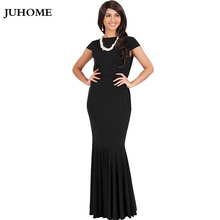 high quality women'S tunic fashion 2017 Large Size ladies clothing floor length gown party dress robe femme Evening black Dress(China)