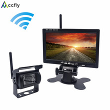 Accfly 12V 24V Wireless car reverse rear view camera for trucks bus excavator Caravan RV Trailer with 7 inch TFT LCD Monitor