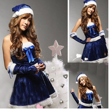 Free Shipping Women Festival Suit Sexy Blue Santa Dress Sleeveless White Villi for Girl Christmas Cosplay Role Performance Dress